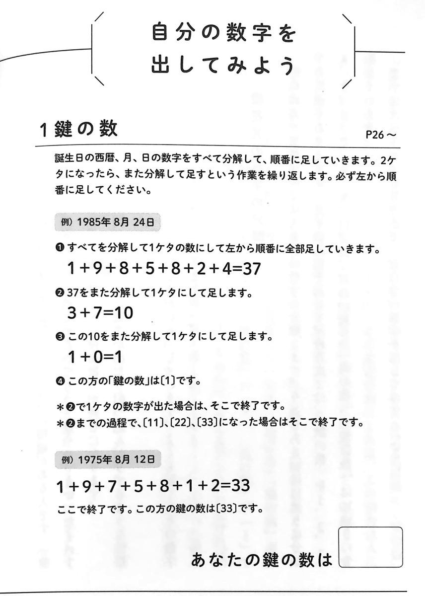 図1 1 自分の数字を出してみよう① 自分を知る本 第1章